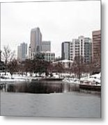 Charlotte Skyline In Snow Metal Print