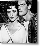 Charlton Heston And Marina Berti Metal Print