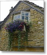 Charming Window And Flowers Metal Print