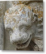 Chartres Cathedral Carved Head Metal Print