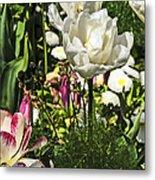 Chartres Garden White Metal Print