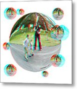 Chasing Bubbles - Red/cyan Filtered 3d Glasses Required Metal Print