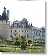 Chateau  Chenonceau And Garden Metal Print