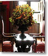 Chateau De Chenonceau Flowers And Chairs Metal Print