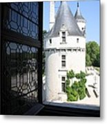 Chateau Chenonceau Tower Through Open Window  Metal Print