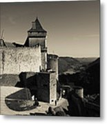 Chateau De Castelnaud With Hot Air Metal Print