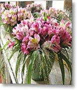 Chateau De Chenonceau Flowers On Mantle Metal Print