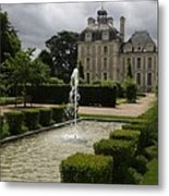 Chateau De Cheverny With Garden Fountain Metal Print