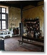 Chateau De Cormatin Kitchen - Burgundy Metal Print