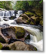 Chattooga River Potholes Waterfall Highlands Nc - The Artist's Hand Metal Print by Dave Allen