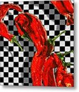 Checker Peppers Metal Print