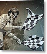 Checkered Flag Grunge Monochrome Metal Print