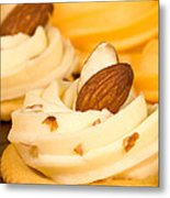 Cheddar Cheese On Crackers With Almonds Metal Print