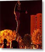 Cheer Leaders At Texas Tech Home Coming Metal Print
