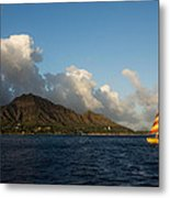 Cheerful Orange Catamaran And Diamond Head - Waikiki - Hawaii Metal Print
