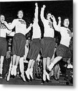 Cheerleaders Jump For Joy Metal Print