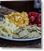 Cheese And Strawberries Metal Print