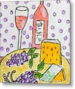 Cheese And Wine Metal Print