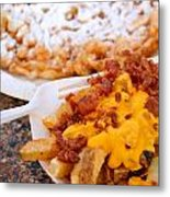 Cheesy Bacon Fries And Funnel Cake Metal Print