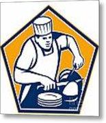Chef Cook Slicing Ham Retro Metal Print