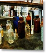 Chemistry - Assorted Chemicals In Bottles Metal Print