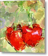 Cherries Abstract Metal Print