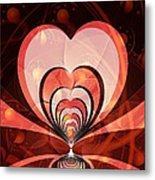 Cherries And Hearts Metal Print