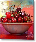 Cherries On The Table With Textures Metal Print