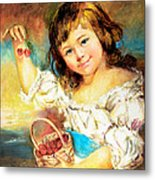 Cherry Basket Girl Metal Print