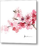 Cherry Blossom Branch Watercolor Art Print Painting Metal Print