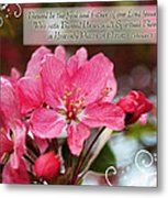 Cherry Blossom Greeting Card With Verse Metal Print