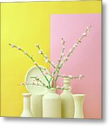 Cherry Blossom Popcorn In Monochromatic Metal Print