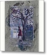 Cherry Blossom Red Abstract Metal Print