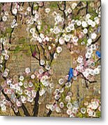 Cherry Blossoms And Blue Birds Metal Print by Blenda Studio