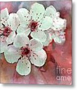 Apple Blossoms In Soft Pink - Digital Paint Metal Print