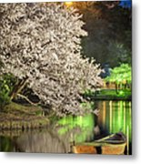 Cherry Blossom Temple Boat Metal Print