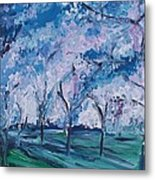 Cherry Trees Impressionism Metal Print