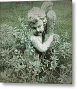 Cherub Statue In The Garden Metal Print