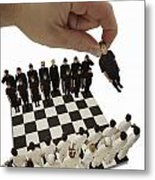 Chess Being Played With Little People Metal Print