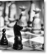 Chess Game In Black And White Metal Print