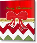 Chevron Christmas Metal Print