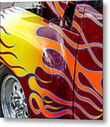 Chevy Pickup Flames Metal Print