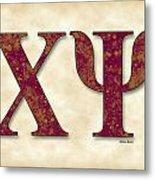 Chi Psi - Parchment Metal Print