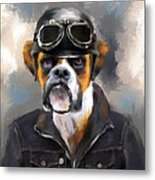 Chic Boxer Aviator Metal Print by Jai Johnson