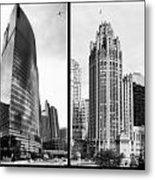 Chicago 333 And The Tower 2 Panel Bw Metal Print
