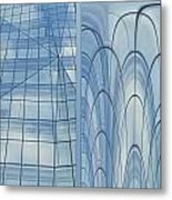 Chicago Abstract Before And After Blue Glass 2 Panel Metal Print