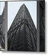 Chicago Abstract Before And After John Hancock Sw Facades Triptych 3 Panel Metal Print