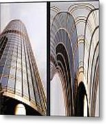 Chicago Abstract Before And After Sunrays On Trump Tower 2 Panel Metal Print