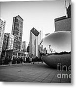 Chicago Bean And Chicago Skyline In Black And White Metal Print