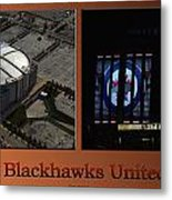 Chicago Blackhawks United Center Signage 2 Panel Tan Metal Print